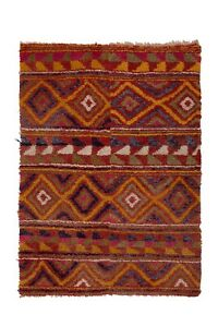 """Checkered Midcentury Tulu Rug in Soft Colors 3'10"""" X 5'4"""""""