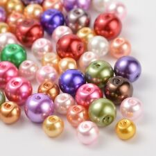 100pcs Glass Pearl Round Beads Mixed Style Mixed Colour 6~8mm Hole 1mm Findings