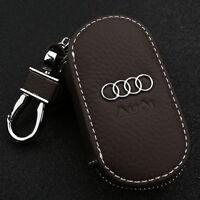 schlüsselanhänger etui schlüsseltasche echt leder autoschlüssel für Audi Kaffee