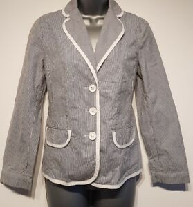 Size 8 Jacket LIZ CLAIBOURNE Blue White Striped Fitted Great Condition Women's