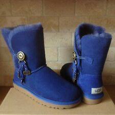 UGG Azalea Button Charms Shipyard Blue Suede Short Boots Size US 8 Womens