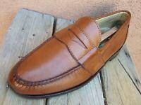 ALLEN EDMONDS Mens Dress Shoes Soft Cognac Brown Leather Penny Loafers Size 8.5E