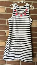 Crewcuts (J Crew) Girls 12 Navy White Stripe Beaded Pom Pom Tank Dress