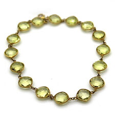 Cushion Cut Lemon Quartz Fine Anklet 925 Sterling Silver Gold Plated