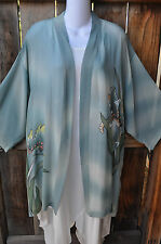 SIMPLY SILK ART TO WEAR HAND PAINTED SOFT FLORAL GREEN SILK KIMONO JACKET, OS+!