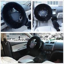 Long Plush Fluffy Natural Wool Autos Steering Wheel Hand Brake Gear Knob Covers