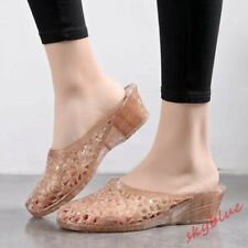 Womens Jelly Sandals Casual Mules Shoes Hollow Out Wedge Heel Pumps Slippers