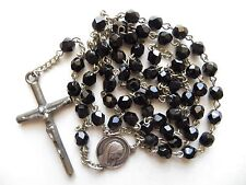 C1950s Vintage French Jet Black Glass Beads Rosary-Detailed Medal 42.5cm long