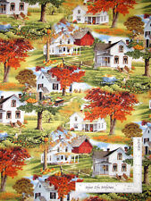 Bringing In The Harvest House Home Scenic Cotton Fabric Wilmington By The Yard