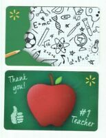 Walmart Gift Card LOT of 2 School - Doodles, Apple, Teacher - No Value