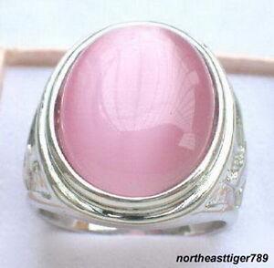 Charm Pink Opal 18KWGP Men's Rings Size: 8.9.10.11