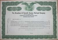 1920 Stock Certificate: 'Broadway & Seventh Avenue Railroad Co.' - New York, NY