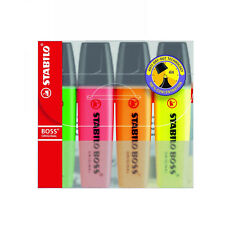 Stabilo Boss Original Highlighter Markers Mixed Colours Chiselled Tip Pack Of 4