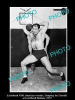OLD HISTORIC PHOTO OF LEICHHARDT NSW WRESTLER JOE SAVOLDI AT THE STADIUM c1935