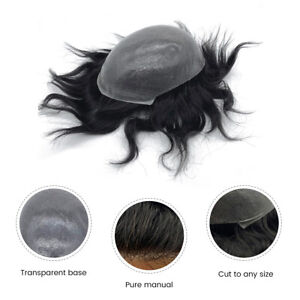 0.06-0.08mm Skin Mens Toupee Invisible Hair Replacement System V-loop Hairpiece