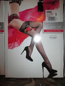 FIORE OZANA ROSE TOP  HOLD UP THIGH HIGH STOCKINGS  3 SIZE FINE HOSIERY BLACK