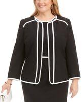 Kasper Women's 20w Plus Size Piped Crepe Flyaway Blazer Jacket, Black, $129, NwT