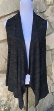 LOGO by Lori Goldstein Cardigan Tunic Top Size M Black Marled Open Draped Front
