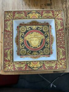 Versace Medusa Rosenthal Square Plate Tray Red Gold Ashtray Authentic