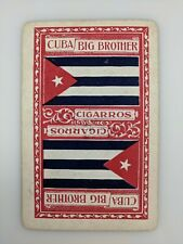Old Single Playing Card Antique Cuba Cuban Flag Cigars Big Brother Advertising