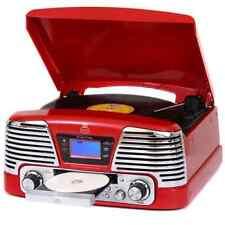 GPO Memphis Rosso, 4 in 1 in vinile giradischi, lettore CD, lettore MP3, radio FM