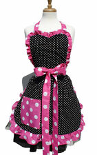 Hemet Apron Black White Polka dot with Pink Ruffle Polka Dot Apron Folk rock USA