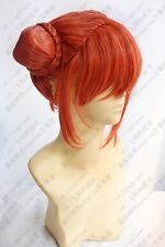GINTAMA KAGURA Coral Orange Short Cosplay Wig 2 Buns free wig cap