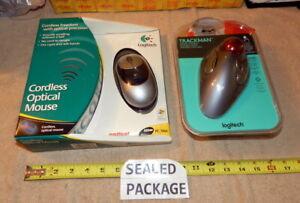 Logitech Cordless Optical Mouse USB PS/2 PC MAC & Corded TrackMan Trackball