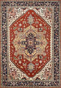 Heriz Serapi 10'x14' Rust Wool Tribal Hand-Knotted Oriental Rug