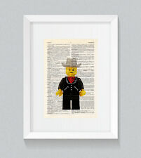 Lego Cowboy Vintage Dictionary Book Print Wall Art