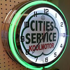 "18"" CITIES SERVICE Koolmotor Gasoline Gas Station Sign Double Neon Clock"