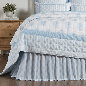 VHC Brands Farmhouse King Bed Skirt Blue Distressed Appearance Bedroom Decor