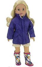"Pretty Plaid Wellies n Rain Parka Coat Jacket for 18"" American Girl Doll Clothes"