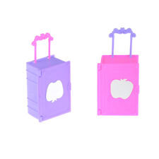 2pcs Kids Toy Plastic Travel Suitcase Luggage Case Trunk For Barbie Doll House .