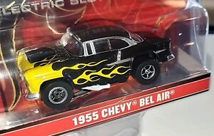 Auto World Slot 55 Chevy Bel Air Black with Yellow Flames