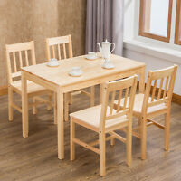 5Pcs Pine Wood Dining Table Set w/4 Chairs Kitchen Dining Room Furniture Nature