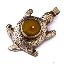 Repousse Yellow Resin Turtle Pendant Tibetan Nepalese Handmade Tibet Nepal UP898