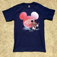 VTG 90s Detroit Red Wings Disney Mickey Mouse T-Shirt NHL Hockey (Sz S)