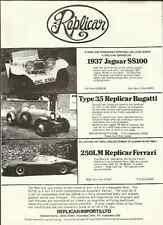 """Les importations replicar ltd.jaguar, BUGATTI ET FERRARI ventes """"brochure"""" / Feuille 1982"""