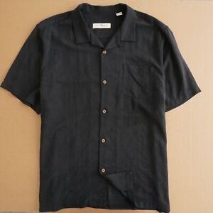 Tommy Bahama Mens Hawaiian Shirt Black Silk Size 2XL XXL