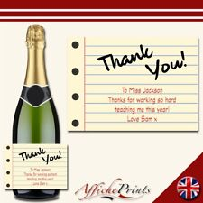 L148 Personalised Teacher Thank You School Notepad Prosecco Custom Bottle Label