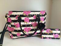 Betsey Johnson purple Floral tote satchel handbag crossbody purse & wallet New!
