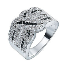 Fashion Women Jewelry 925 Silver Black Sapphire Band Ring Wedding Engagement