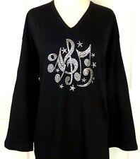 MEDIUM 3/4 Sleeve V-Neck Top Rhinestone Embellished Music Notes Swirls & Stars