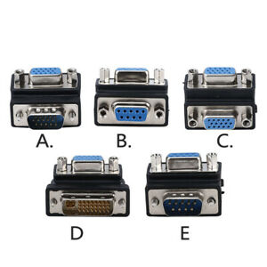 Angle VGA Adapter Male Female Connector DB9 RS232 DVI 24+1 Convertor Extender