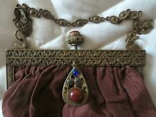 Fabulous Vintage Jeweled Brass Purse Frame ~ Swans