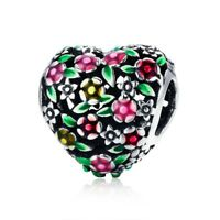 Valley Of Flowers Heart Charm 100% 925 Sterling Silver Pandora