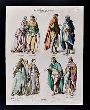 1880 Braun Costume Print 14th c German Dress Knight Lady Prince English Princess