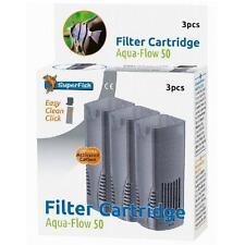 Superfish Acuario Peces Tanque Aqua Flujo 50 interno cartuchos de filtro de carbón 3pc