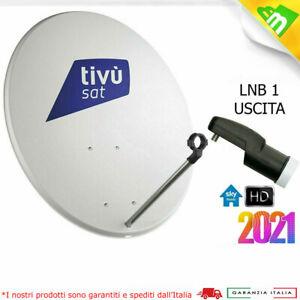 KIT PARABOLA SATELLITARE 80 CM TV ANTENNA ACCIAIO COMPLETA LNB 1 OUT SKY TIVUSAT